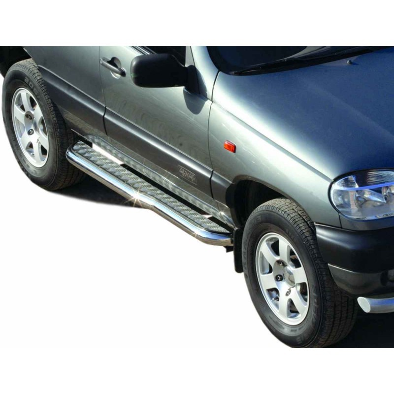 Protection thresholds with aluminum sheet with a bend (d63.5), VAZ 2123 Chevrolet Niva, painted / stainless steel
