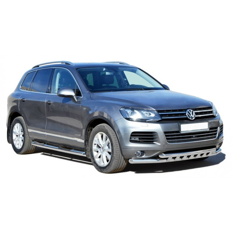 Door-sill guards with tread d76 Volkswagen Touareg (2010-present), painted / stainless steel