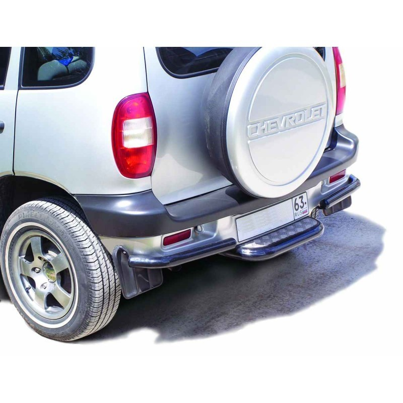 "Rear footrest with aluminum sheet and protection of the rear bumper ""Corners"", VAZ 2123 Chevrolet Niva"
